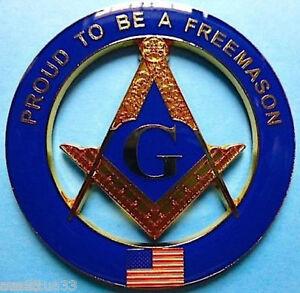 Proud To be a American Freemason Cut out Alloy Zinc  Car Emblem Masonic Badge