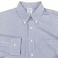 Brooks Brothers Regent Button Dress Shirt Sz 16 34 Blue Vertical Striped Blue