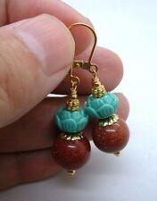 Bold Goldstone W. Turquoise Green Art Clay Gold Earrings  BIN0802