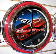 """Corvette C-6 Red Racing Car And Flags Double Ring 14"""" Neon Clock - New"""