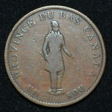 Lower Canada 1837 Habitant Quebec Bank ½ Penny Token B.522 LC8B2 Lower