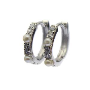 Pearl Hoop Earrings Sterling Silver White Freshwater Pearls Faux Diamond Inlay