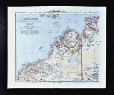 1911 Stieler Map Australia Western Northern Territory Darwin Derby Onslow Broome
