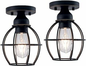 2-Pack Flush Mount Ceiling Light Oil Rubbed Bronze Finish Fixtures Metal Housing