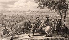 Gravure XIXe Passage du Rhin Louis II Bourbon-Condé Turenne Nijmegen 1858
