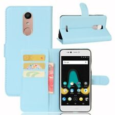 Cover Wallet Premium Light Blue for Wiko upulse Lite Case Cover Pouch Protective
