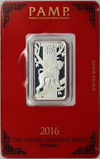 PAMP Suisse Lunar Year of the Monkey Silver Bar 10g 10 Gram .999 Fine Sealed