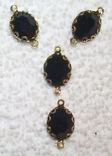 VINTAGE FACETED FRENCH JET BLACK GLASS BANDED JEWELS WITH 2 RINGS 8 PCS-BLACK-