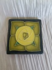 New ListingMotawi Arts & Crafts Floral Art Tile Green Yellow