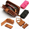 New Zipper PU Leather Wallet Card Slot Purse Case Detachable Magnetic Back Cover