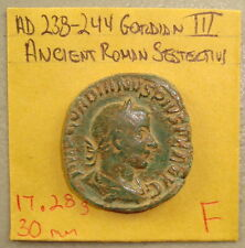 AD 238-244 Gordian III Victory Reverse Ancient Roman Sestertius F 17.28 g, 30 mm
