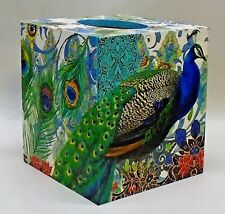 Made To Order, Handmade Decoupage Wood Tissue Box Cover, Peacock