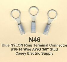 """25 Blue NYLON Insulated RING Terminal Connectors #16-14 Wire AWG 3/8"""" Stud MOLEX"""