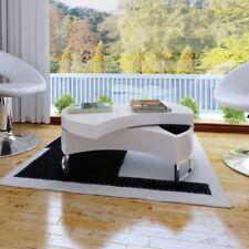 vidaXL Mesa de Centro Forma Ajustable Blanca/Negra Alta Brillo para Salón