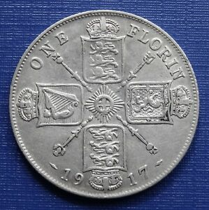 Great Britain One Florin~1917 George V~.925 Silver 11.3g, KM#817~VF+~B19