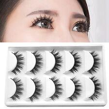 5 Pairs Luxurious 3D False Eyelashes Cross Makeup Natural Long Eye Lashes NEW~~