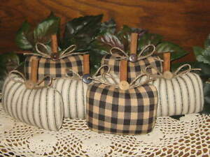 Fall Decor 6 Rustic Black  Fabric Pumpkins Wreath Accents Autumn Bowl Fillers