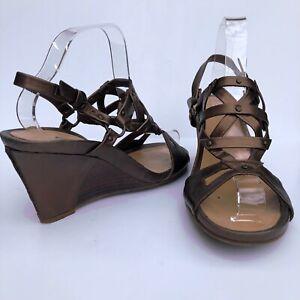 Clarks Women's Wedge Heel Open Toe Shiny Brown Slingback Sandals UK 7