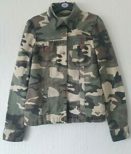 ROXY CAMO PRINT JACKET COLLAR LONG SLEEVES BUTTON FASTENING SIZE S