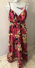 Joe Browns Pink Mix Strappy Summer Cotton Floral Long Dress Size 18