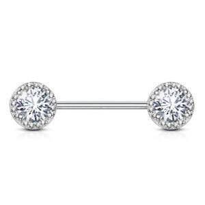 PAIR Paved CZ Gems w/ Large Gem Center Nipple Rings - Steel, Gold or Rose Gold