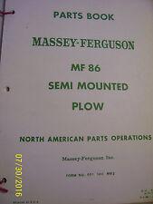 VINTAGE MASSEY FERGUSON PARTS MANUAL - MF  # 86 SEMI MNTD PLOWS - 1968
