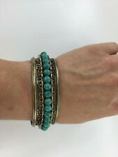 Muse By Gypsy Genuine Turquoise Rolling Bead Bronze Cuff 7.5 - 8.5 Inch