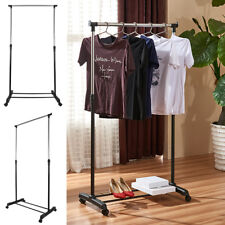Adjustable Rolling Garment Rack Heavy Duty Clothes Hanger Portable Rail  Durable