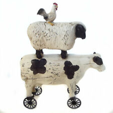 Cow Sheep Chicken Statue Ornament Garden Art Figurine Stack on Wheels 22cm