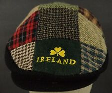 Plaid Ireland embroidered cabby paper boy news boy hat cap adjustable strap