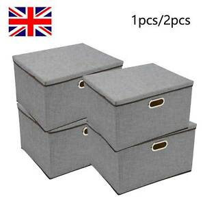 Foldable Storage Boxes with Lid Collapsible Home Clothes Organizer Fabric Cube