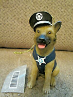 "NEW! tagged German Shepherd police dog ornament resin 3.5"" tall"