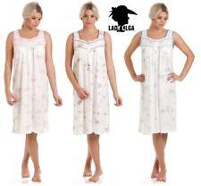 Ladies Sleeveless Jersey Nightdress Womens Floral Cotton Rich Nightwear NEW