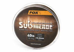 Fox Submerge™ Sinking Braided Mainline Dark Camo *All Sizes* 300m or 600m NEW