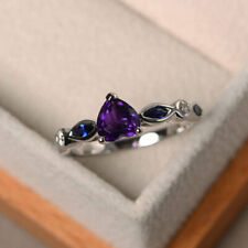 1.16 Ct Real Diamond Natural Amethyst Gemstone Ring 950 Platinum Rings 6.5 7 8