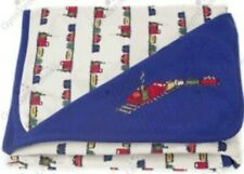 NWT 2005 Gymboree Train on Track Blanket Embroidered Navy Blue Blanket NEW