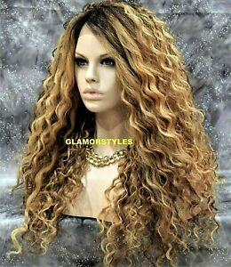 Human Hair Blend Lace Front Full Wig Long Spiral Curl Ombre Brown Blonde Auburn