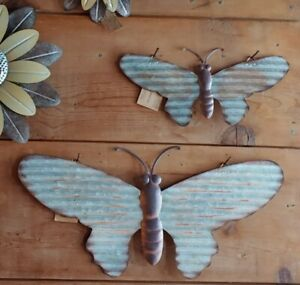 BUTTERFLY Galvanized Metal Wall Hanging Rustic Farmhouse 2 Sizes Butterflies