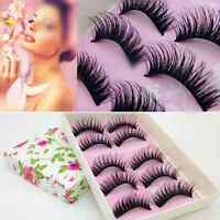 5Pair Fashion Black Long False Eyelash Makeup Thick Soft Eye Lashes Extension US