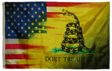 USA & YELLOW SNAKE Gadsden Culpeper TEA PARTY FLAG 3X5' Don't Tread on me 2ND