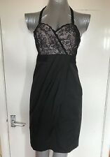 NEXT, SIZE 8 PETITE, BLACK & NUDE LACE SATIN HALTER NECK SHORT DRESS, NWOT