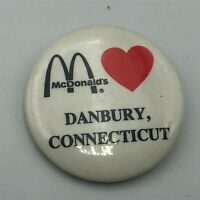 "Rare McDonalds DANBURY CT 1-1/4"" Advertising City Pin Pinback Button  P4"