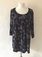 NEW LADIES FLORAL BLACK PINK GREEN SMOCK TOP TUNIC PLUS SIZE 18-32 MADE IN UK