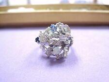 LQQK vintage unique 14K White Gold Statement Ring w/ Diamond & Gemstones sz5