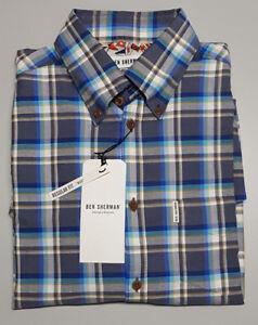NEW Ben Sherman SMALL MOD FIT Blue Check Regular Fit Long Sleeve Shirt $99.95
