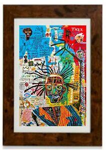 *Larger Size* Jazz King Modern Abstract Framed Print Jean Michel Basquiat