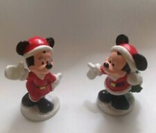 """Pair - Mickey & Minnie Mouse Figurines 3"""" Christmas Disney Made in China 3 & 4"""