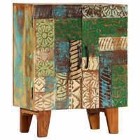 vidaXL Carved Storage Sideboard Cabinet Solid Reclaimed Wood Side Cabinet