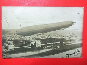 MOSELLE RIVER ZEPPELIN AIRSHIP WWI ANTIQUE POST CARD ORIGINAL HISTORIC AVIATION