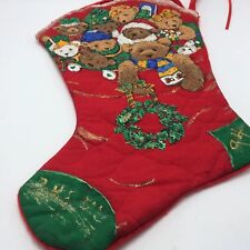 Over Sized Xmas Stocking Hand Made Decorated Teddy Bears Glitter Embellished